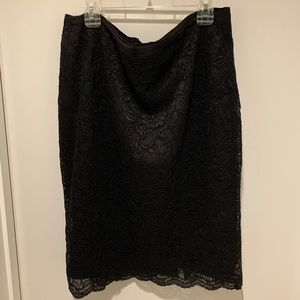 New York and Company Black Lace Pencil Skirt